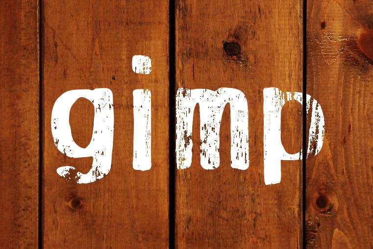 GIMPで木目に合わせてかすれた文字を表現する方法