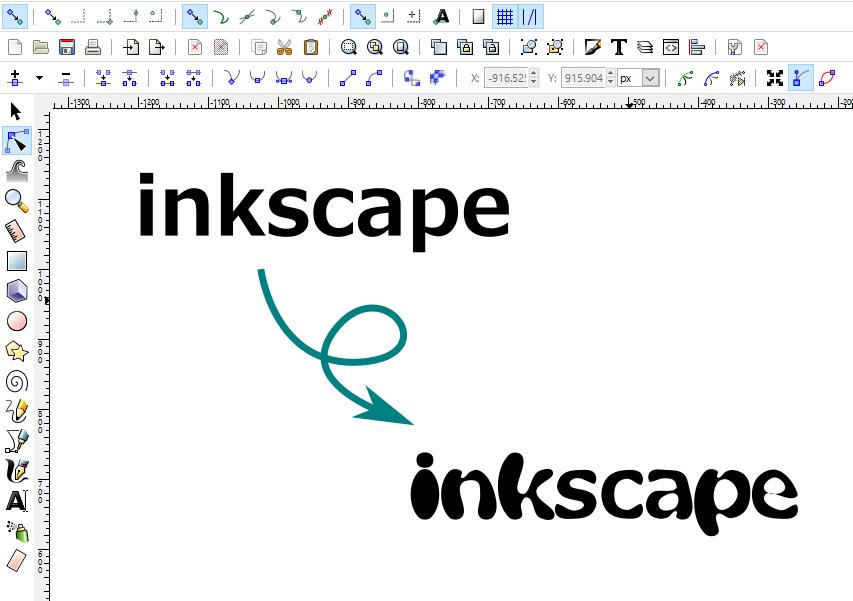 inkscapeのパス操作でテキストをポップにする方法